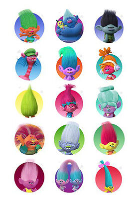 15 TROLLS Edible Premium 5cm Icing Cupcake Cup Cake Decoration Images Toppers