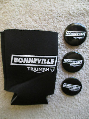 Genuine Triumph Bonneville Motorcycle Pins, Beer Bottle Can Koozie Coozie