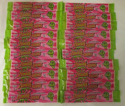 20 x 28g BARS OF MEGA SIZE ZOMBIE CHEWS - SOUR STRAWBERRY FLAVOURED