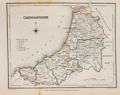 Cardiganshire County Hand Coloured Map, Antique Map c. 1848 by Samuel Lewis