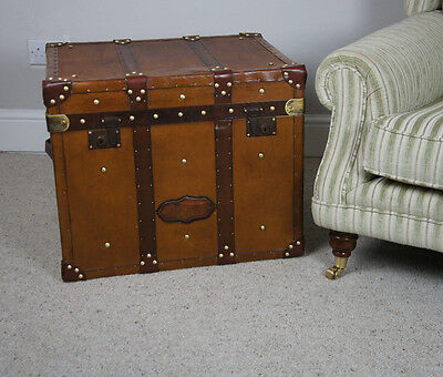 Vintage English Leather Campaign Chest Trunk