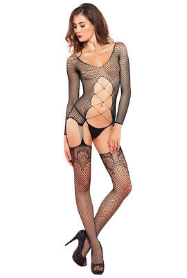 aff2623fdc9 LEG AVENUE BLACK cut out suspender body stocking -  21.99