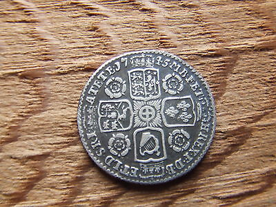 George Ii.   1745.  Silver Sixpence. Rose's.   Scarce    Nice Condition.