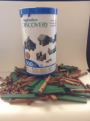 296/300 Piece Imagination Discovery Timber Log Set Lincoln Logs Building Toy