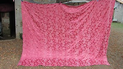 HUGE ANTIQUE FRENCH SATEEN EMBOSSED ROSE HEAD CURTAIN PANEL DUSKY PINK c1920's