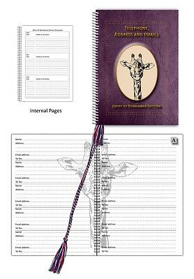 Giraffe Ink A5 Address & Telephone Book with Dates section choice 3 colours Gift