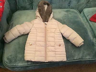 F&f age 6-9 months grey QUILTED coat FUR TRIMED Hood new winter warm grey lined