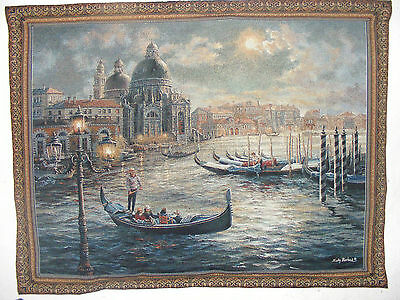 Vintage Tapestry Wall Hanging Italian Venice Scene Signed