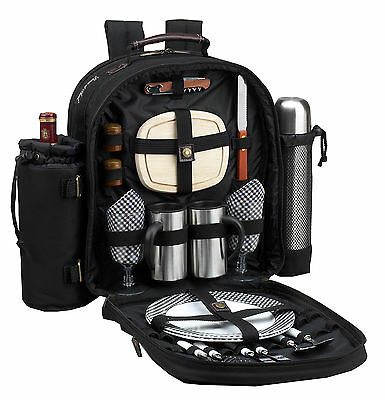Picnic at Ascot Classic Coffee/Picnic Backpack for 2 (082-BLK)