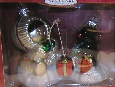 TWO Hallmark Ornament Crown Reflections 2000 Frosty Friends Blown Glass Poland