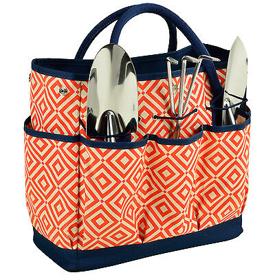 Gardening Tote with 3 Tools - Orange/Navy