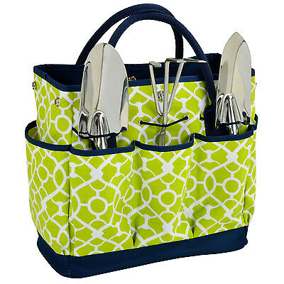 Picnic at Ascot Trellis Green Gardening Tote with Tools (341-TG)