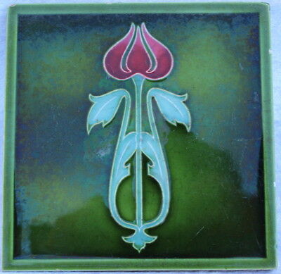 002 - Art Nouveau Tile Circa 1910 - red and green floral