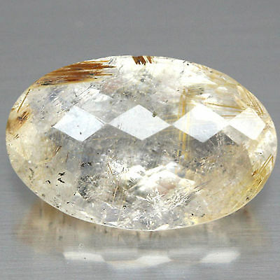 10.45 Ct Natural! White With Golden Rutile Africa Quartz Oval With Checkerboard