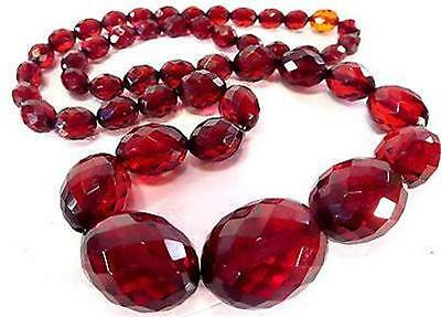 Art Deco Faceted Red Cherry Amber Bakelite Graduated  Beaded Necklace *