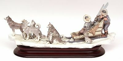 "Rare Lladro Figure Group ""onward"" 1742 - Children Sled & Dog - Perfect!"