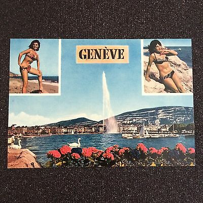 Vintage Pin-Up Bikini Girl Geneva Postcard 1960s Switzerland Unused Jet d'Eau