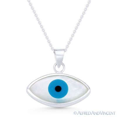 Evil Eye Mother-of-Pearl Luck Charm 925 Sterling Silver Necklace Pendant 19x20mm
