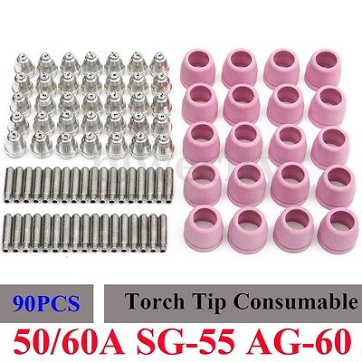 90x Plasma Cutter Torch Consumable Tips Electrodes 50/60A For AG60/SG55/WSD60P