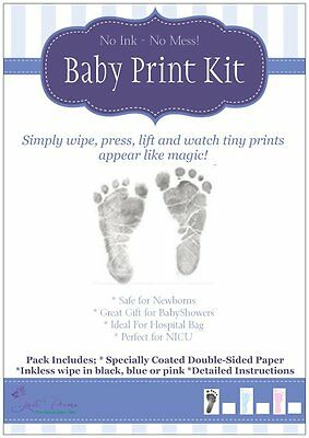 5x Inkless Baby hand and foot print kit in black pink and blue