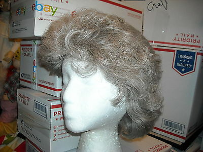 Halloween curly silver brown pepper hair wig  free fast shipping