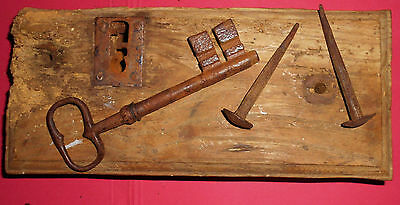 Antique Wood Metal Door Lock Mechanism Assembly with Key and original Nails