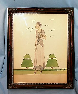 Original 1930's Fashion Sketch Drawing Haute Couture Signed & Dated