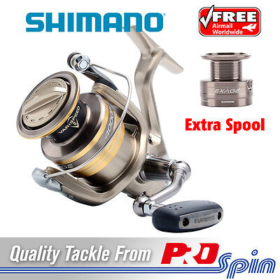 Shimano Exage Spinning Fishing Reel + Spare Spool - 4 Sizes Available