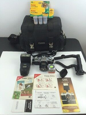 Vintage Canon AE-1 35mm Film Manual Camera *Bundle* 1980 Olympics Lot