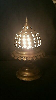 Antique Lamp with Shade Persian Moroccan Mughal Egyptian Pierced Brass Vintage