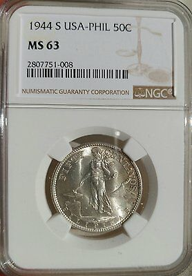US/Philippines 1944-S Fifty Centavos NGC MS 63 **Type I Rev.**