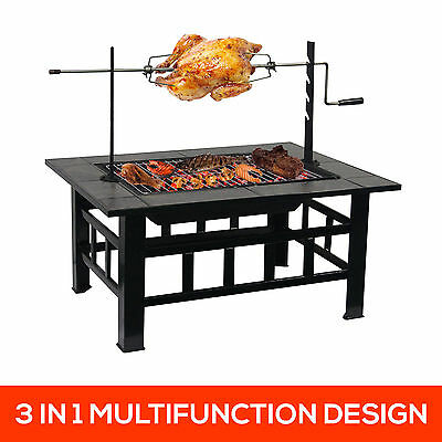Outdoor Fire Pit BBQ Table + Roasting Grill Garden Patio Home Heater Fireplace