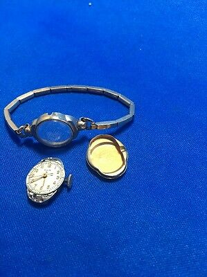 VINTAGE ELGIN 17 JEWELS 10K  GOLD FILLED GF LADIES WATCH Parts -repair As-is
