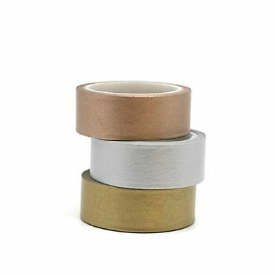Washi Tape - Metallic Solid Triple Set 15mm x 5m  Gold Copper Silver Bronze