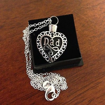 """Memorial Cremation Jewellery Heart/Pendant/Urn/Keepsake for Ashes-""""Dad"""""""