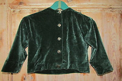 SOFTEST VINTAGE FRENCH CHILD'S FOREST GREEN HAND CRAFTED VELVET COAT/JACKET c40s