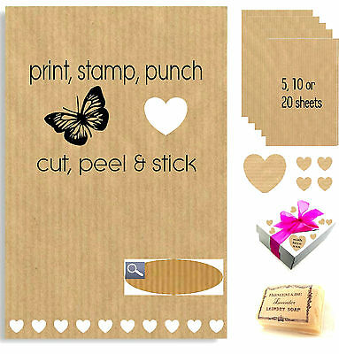 A4 Kraft Sticky Self Adhesive Sheets Brown Paper Parcel Labels Print Stickers