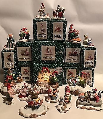 Lot Of 15 Fitz and Floyd Enchanted Forest Holiday Hamlet Christmas Figurines