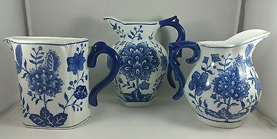 Three (3) Stunning, Cobalt On White Floral Porcelain Wall Pockets By Formalities