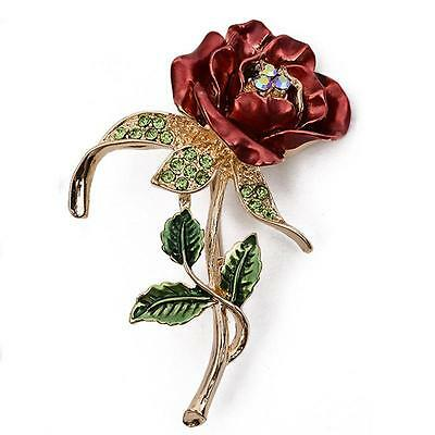 Luxury Rose Brooch Men Ladies Jewelry Pins Beauty and the Beast Red Rose Pin