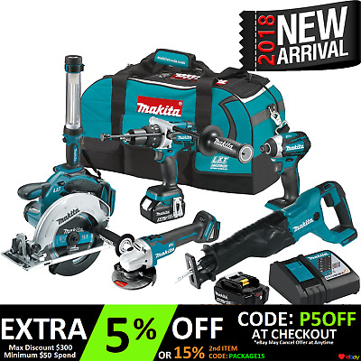 Makita Brushless 18V 5Ah Lithium Ion Cordless 6 Tool Combo Kit 2017
