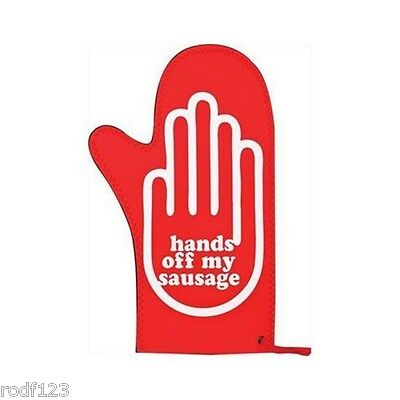 10 Set of Cooks Hands Off My Sausage Red Single Stain Resistant Oven Glove Mitt