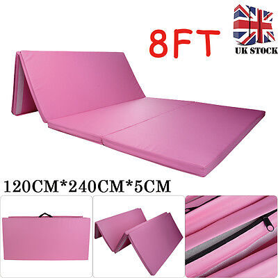 "Pink 8ft Folding 2"" Thick Gym Mat Exercise Yoga Foam Gymnastics Pilates Play"