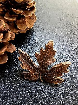 New Vintage Cast Metal Maple Fall Leaf Drawer Pull / Cabinet Pull Copper Color