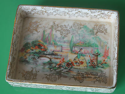 Floral Pink, Gilt & White Sandland Ware Lipped Butter Dish 15cm c.1960