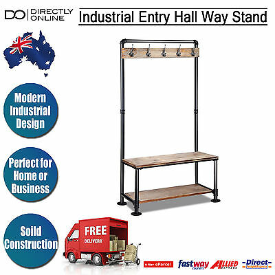 Entryway Coat Stand Shoe Rack Shelves Industrial Hat Clothes Hanger Metal Hooks