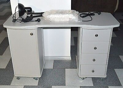 Brand New Nail Manicure Table With Extraction Fan Desk Bonus Light