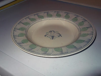 1938 Minton Shallow Soup Bowl  With A Green And Grey In Luna  Pattern