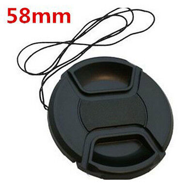 5Pcs Universal 58MM SLR Camera Lens Cover Black Cap With Rope For Nikon Canon