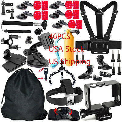 46in 1 Set Kits Accessories Head Chest Strap Mount  For Gopro Hero 5 4 3+ Camera